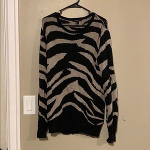 Zebra print tan/black sweater